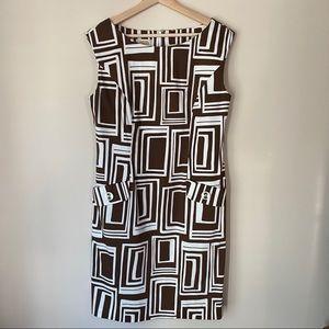 Talbots Geometric Dress Brown & White Size 10